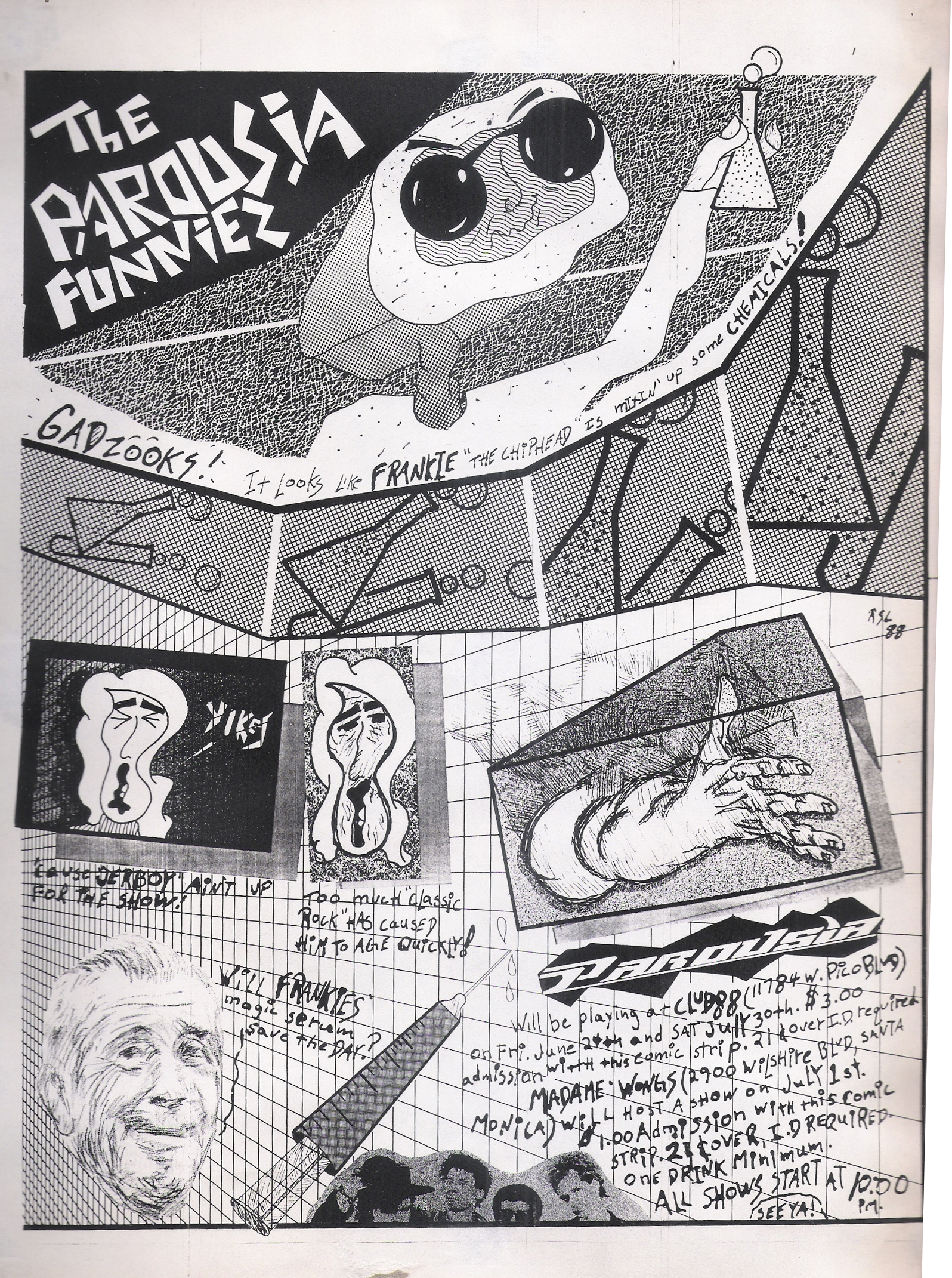 Parousia cartoon gig flyer - Club 88, June 24, 1988