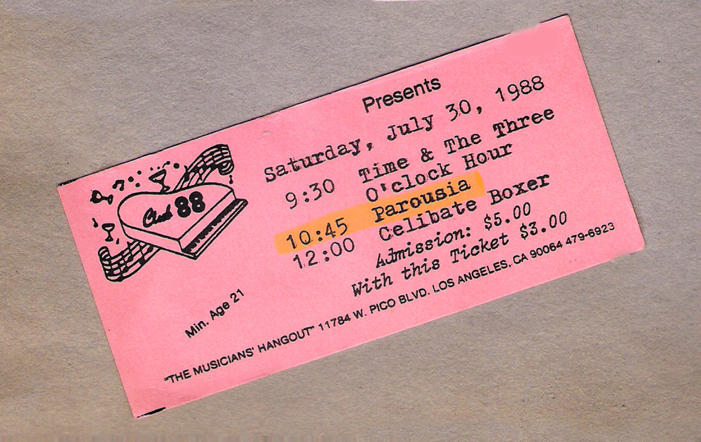 Club 88 ticket - July 30, 1988