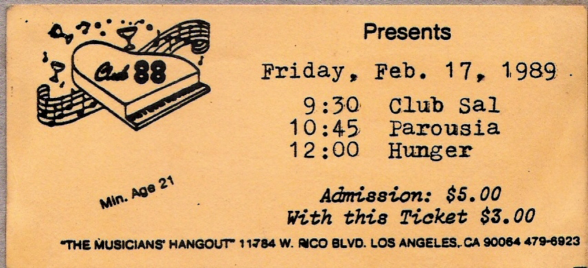 Club 88 Admission Ticket - February 17, 1989