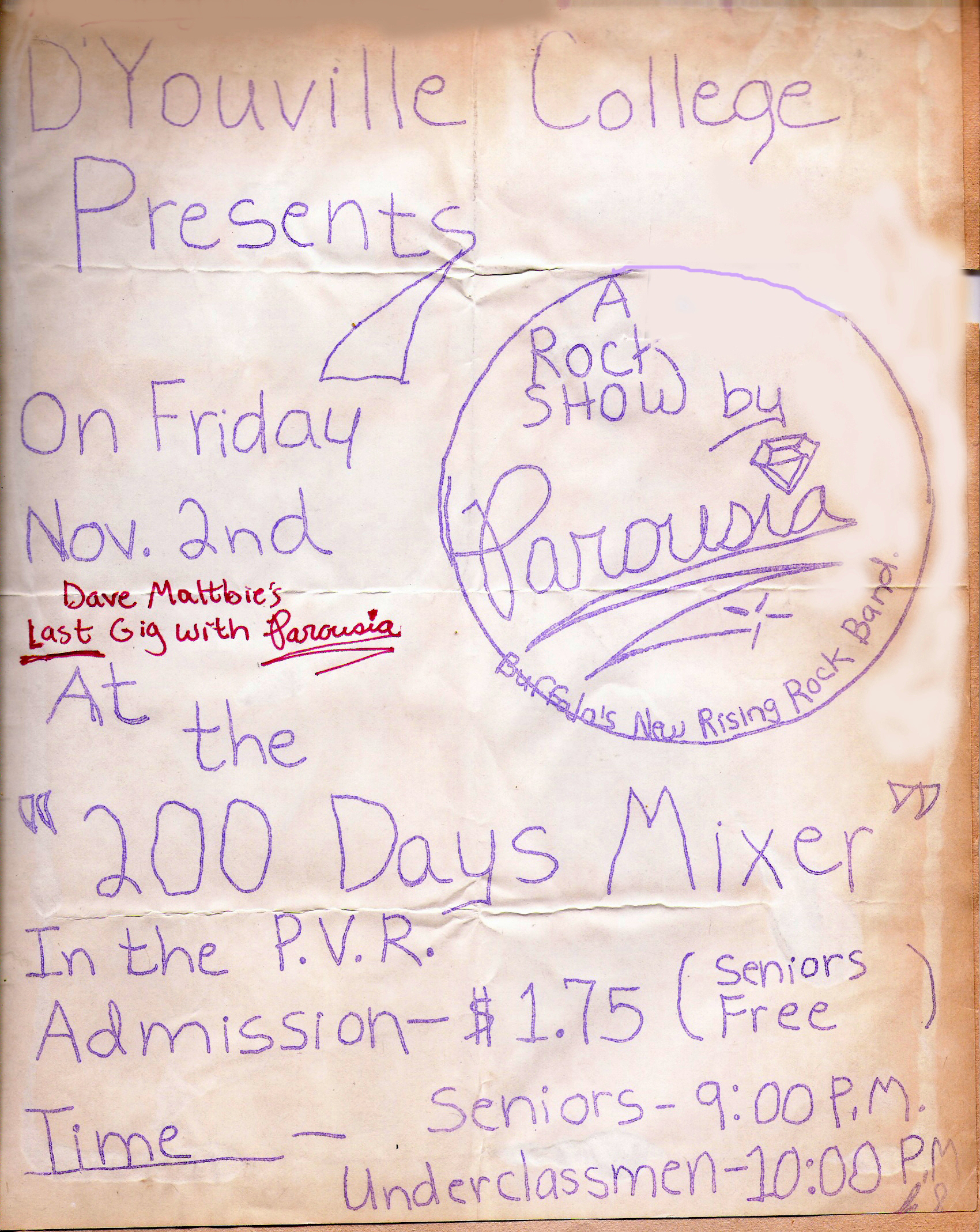 D'Youville College 320 Porter Ave Buffalo, NY - '200 days Mixer' November 22nd, 1979