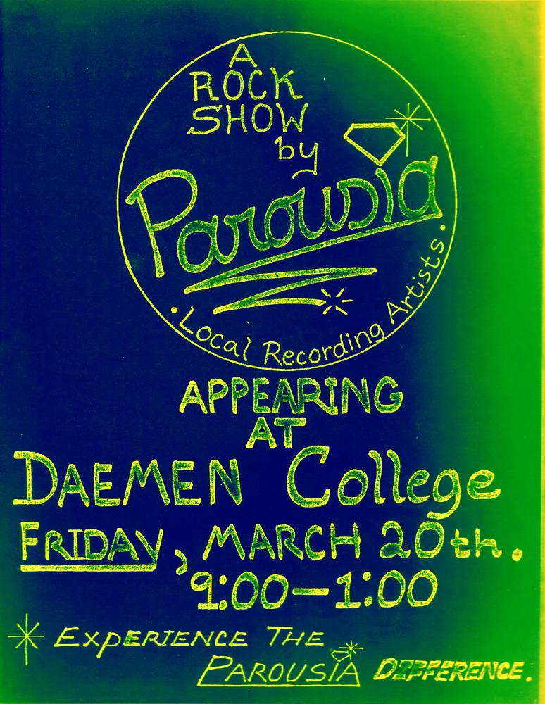 Parousia Flyer - Daemen College, Friday March 20, 1981