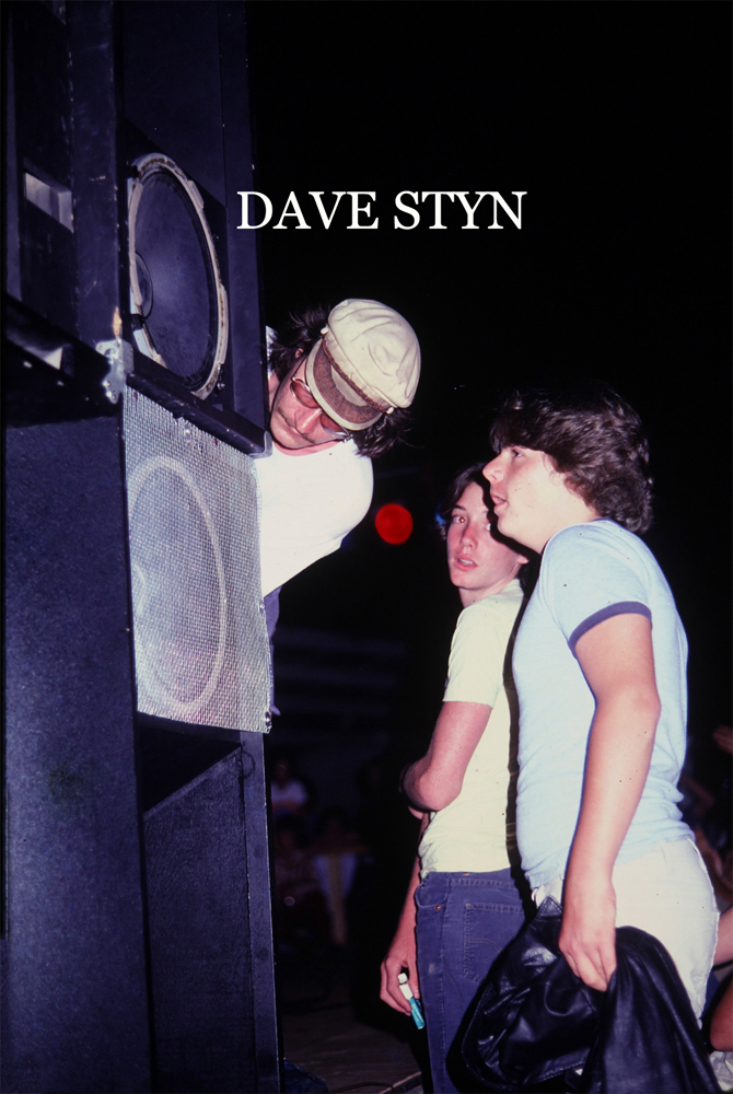 Dave Styn, checking the bass scoop speaker at Parousia's live show at Riverside Park July , 1981