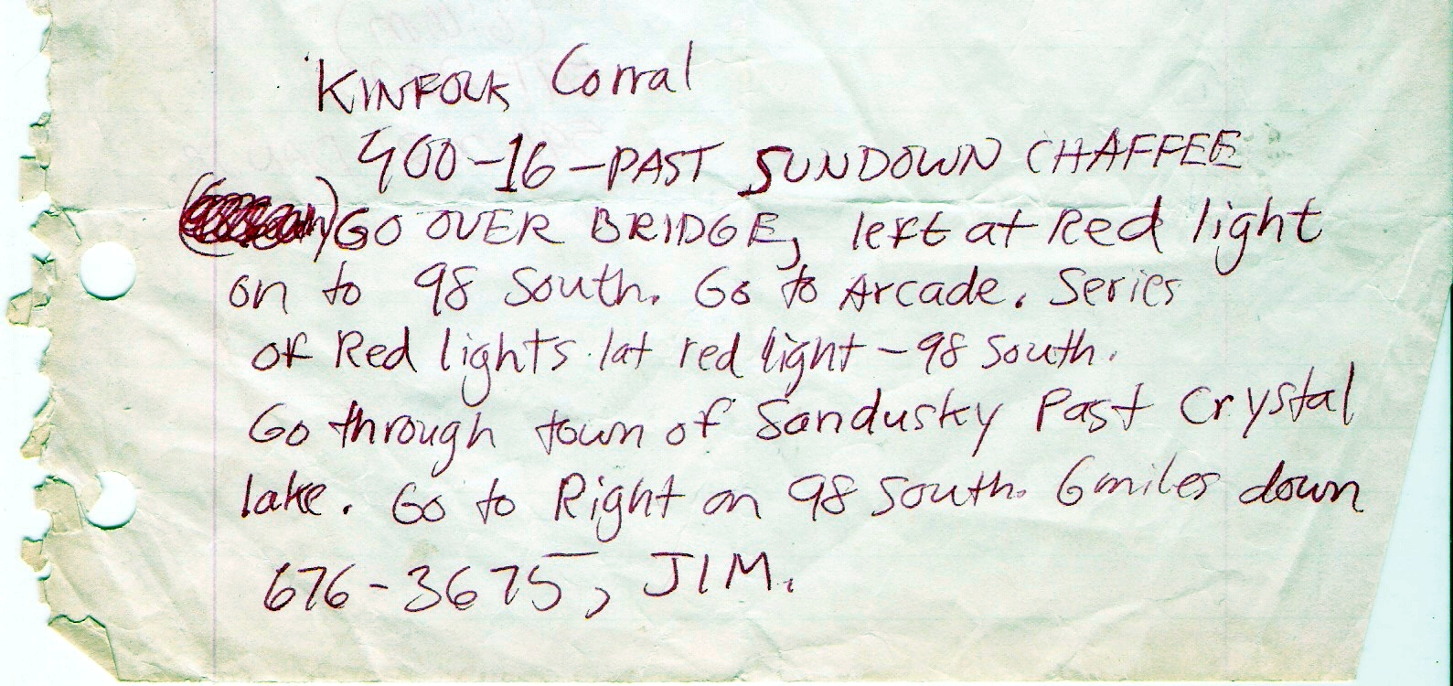 Directions to the Kinfolk Corral - Franklinville, NY