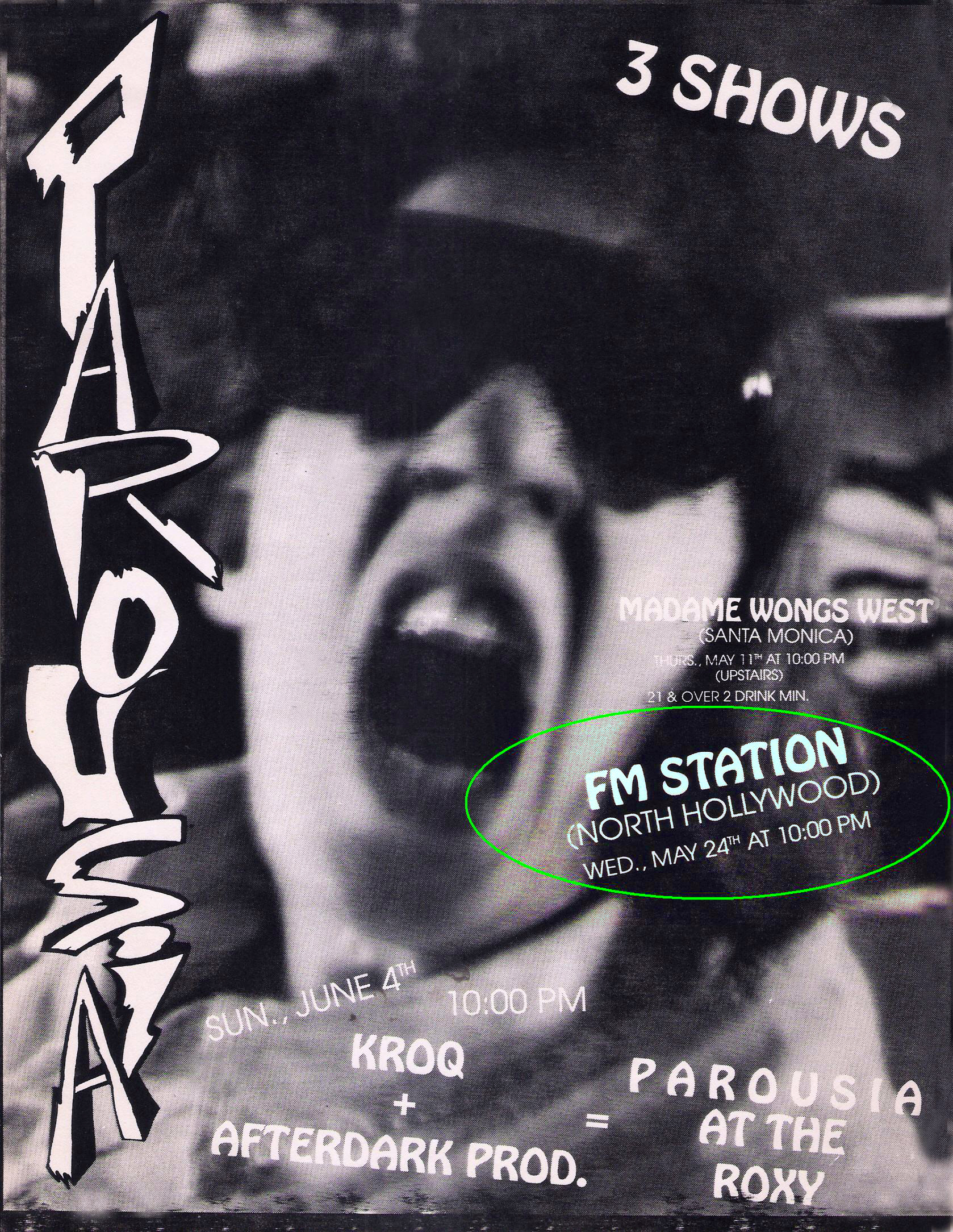 Parousia Flyer: F.M. Station Live show, March 24, 1989 (featuring Cheli Bremmer's face)