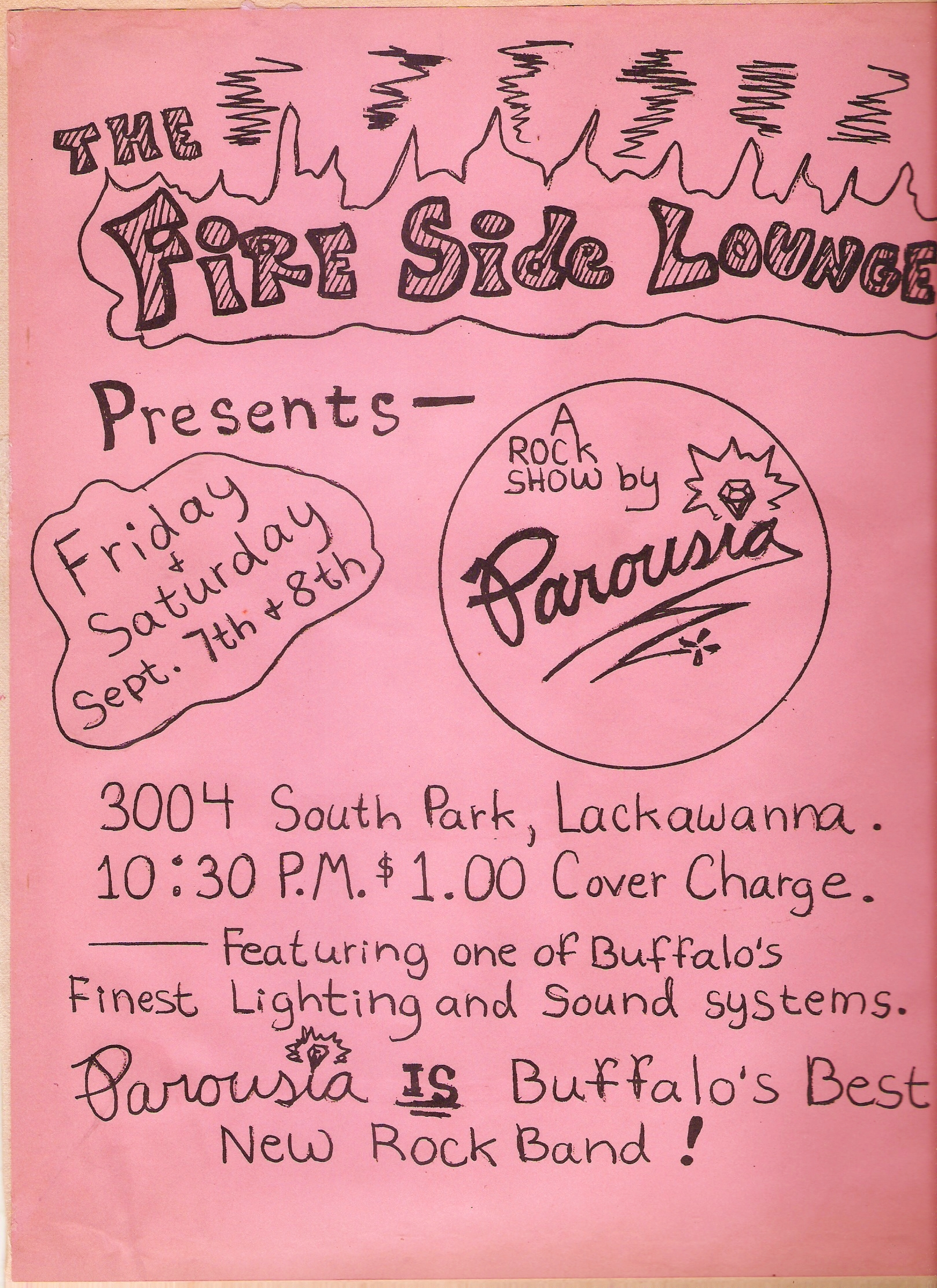 Flyer for Parousia at The Fireside Lounge, Lackawanna, NY. Sept 7-8, 1979