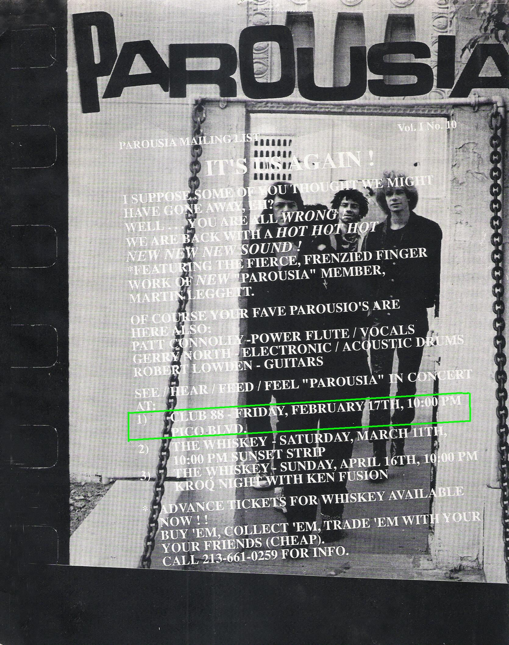 Parousia Flyer with keyboardist Marty Leggett - Club 88 - 02.17.1989