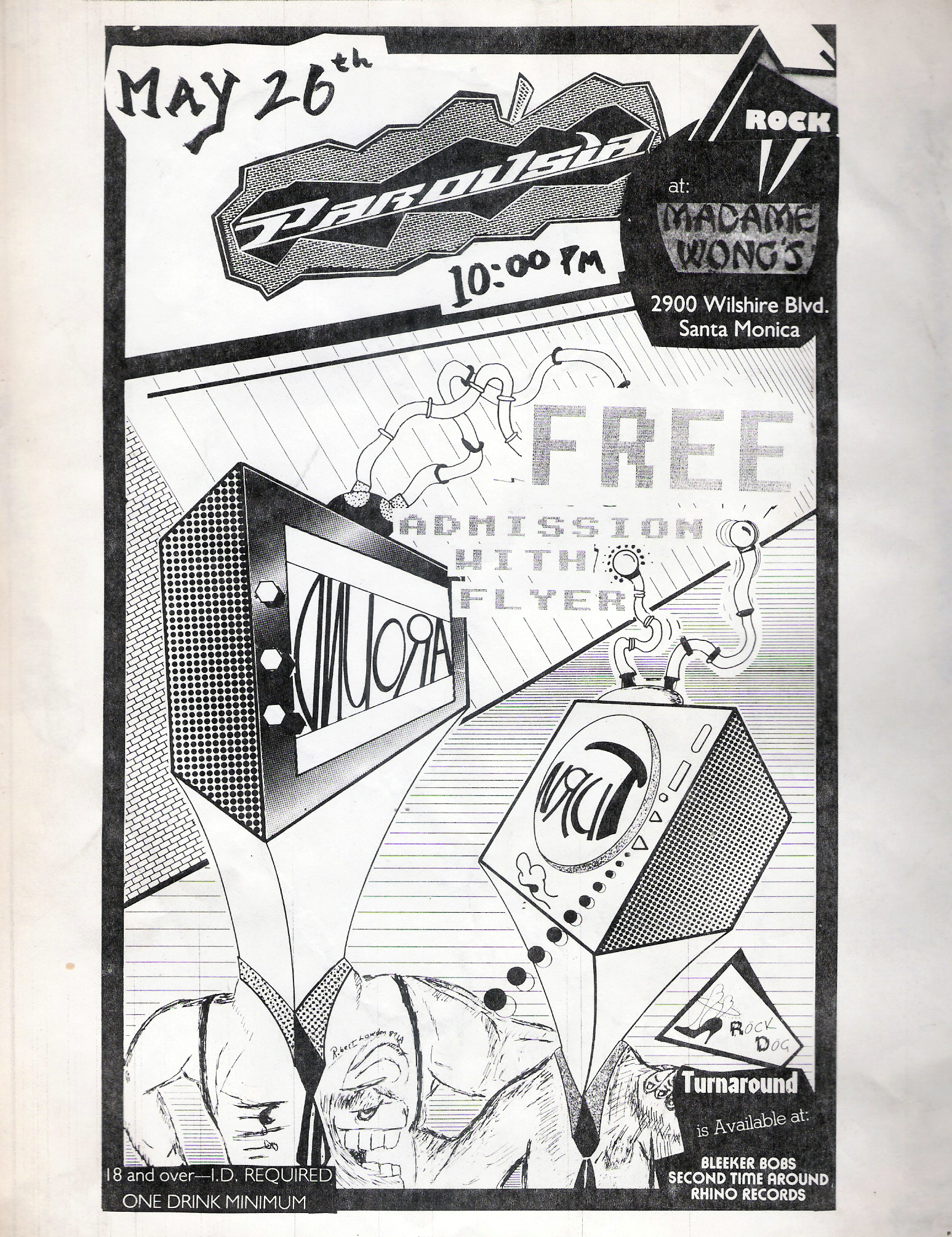 Flyer - Parousia at Madame Wong's West - May 26, 1988