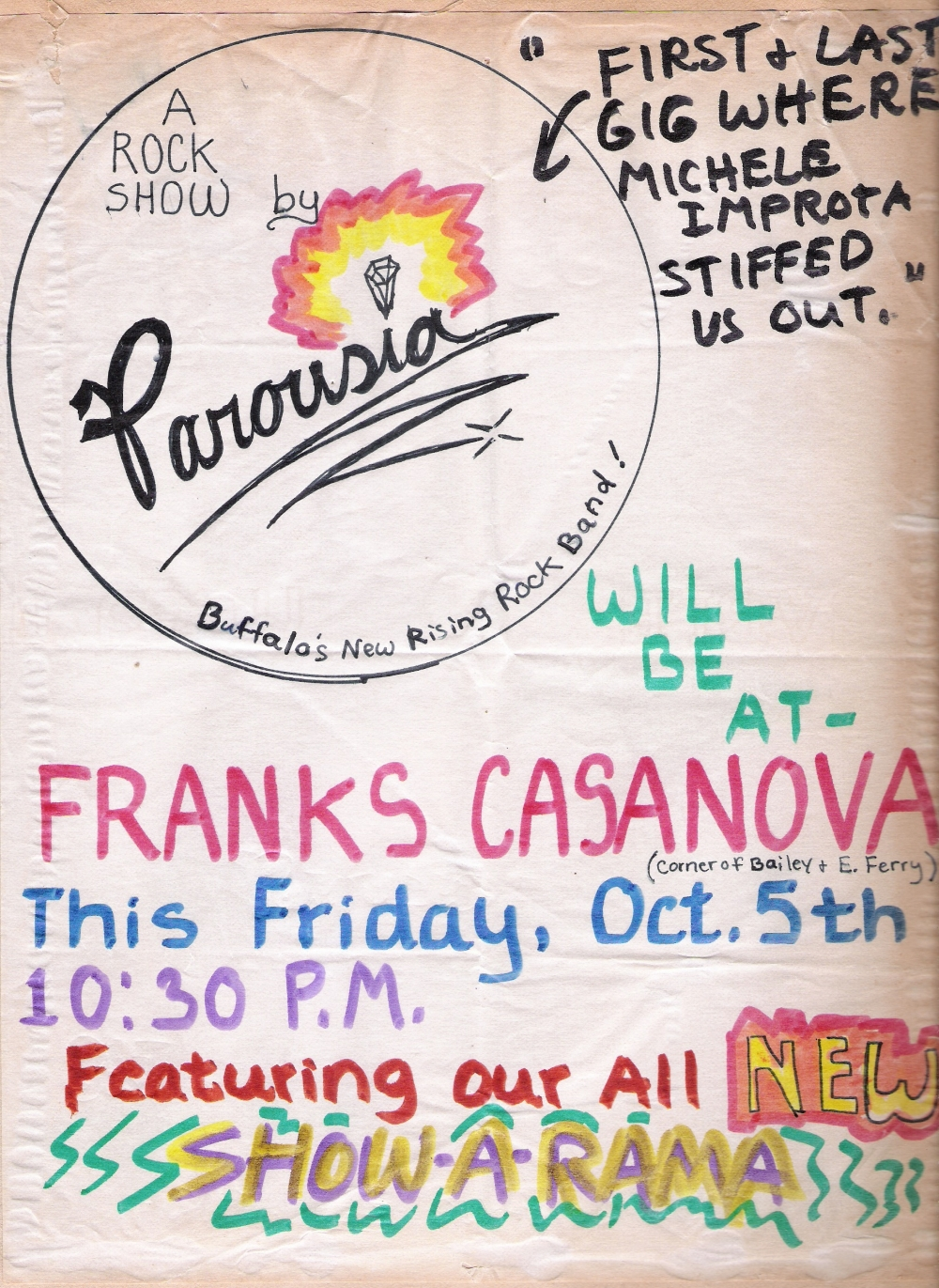 Parousia at Frank's Casanova Friday, 10.05.1979 with new singer Michelle Improta (not)