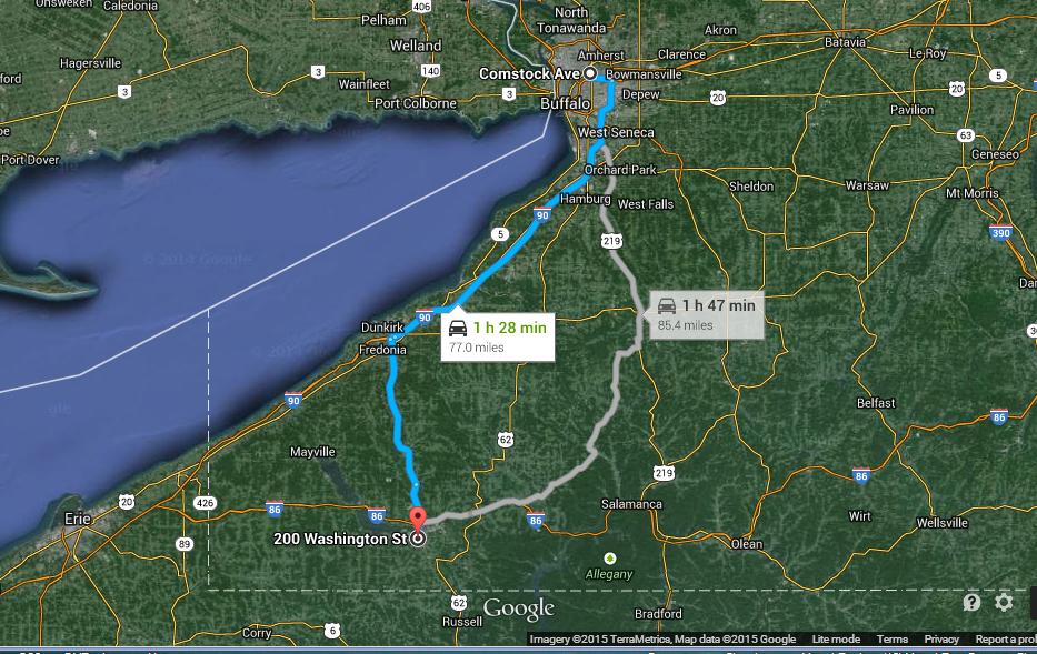 The road from Buffalo, NY to Jamestown, NY