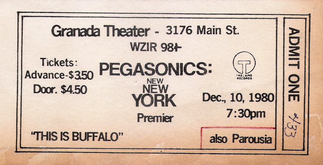 Granada Theater w Pegasonics Ticket 12.10.1980