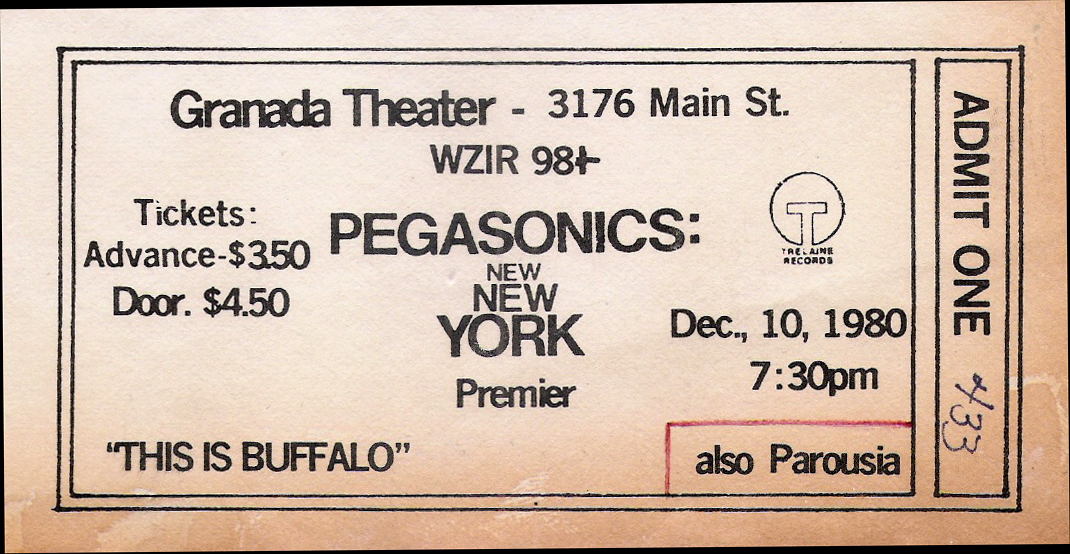 Granada Theater - Pegasonics with Parousia Ticket / 12.10.1980