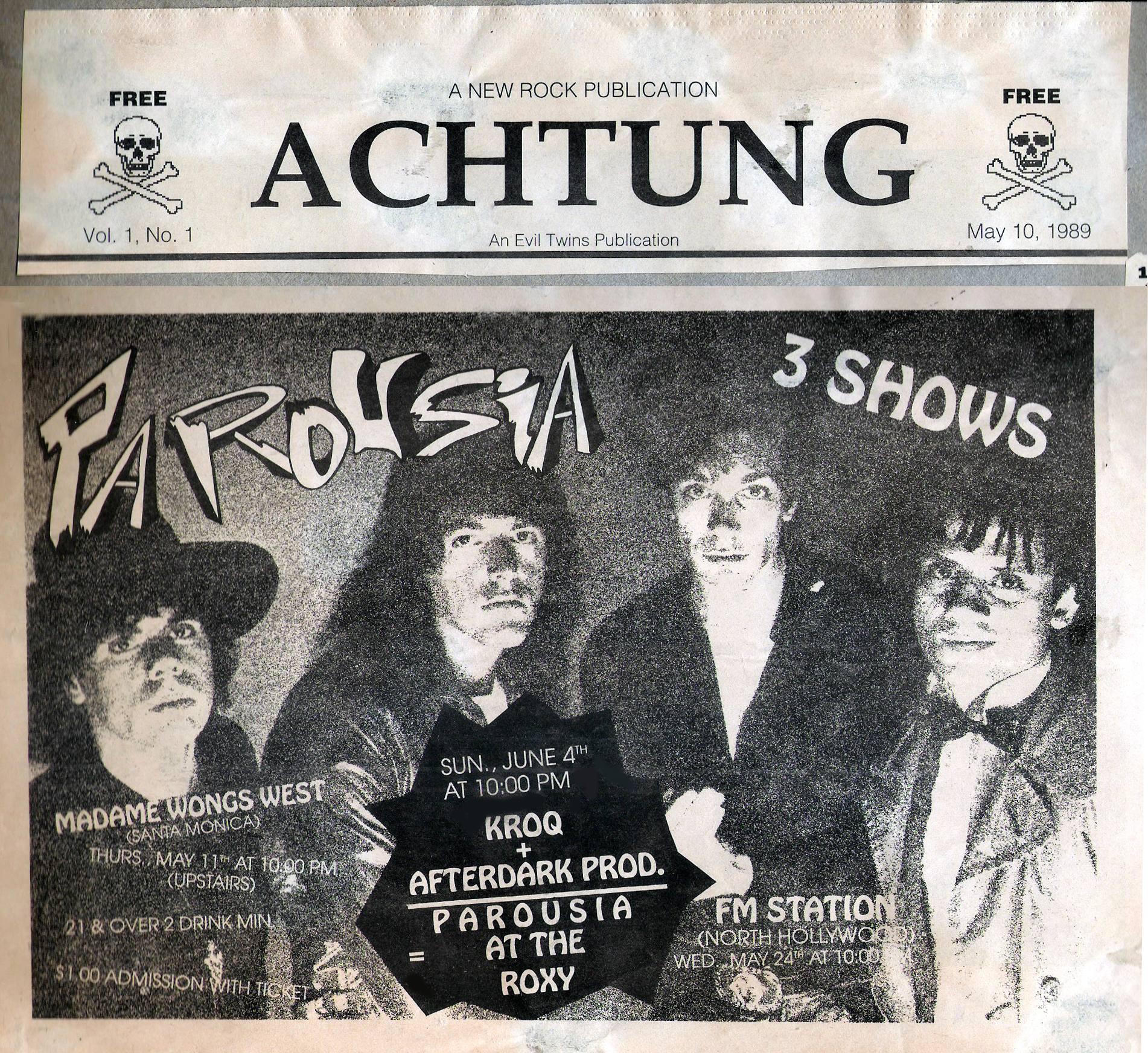 Half-Page ad in Achtung Magazine May 10, 1989