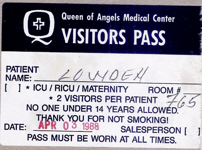 Hospital visitor pass April 3, 1988