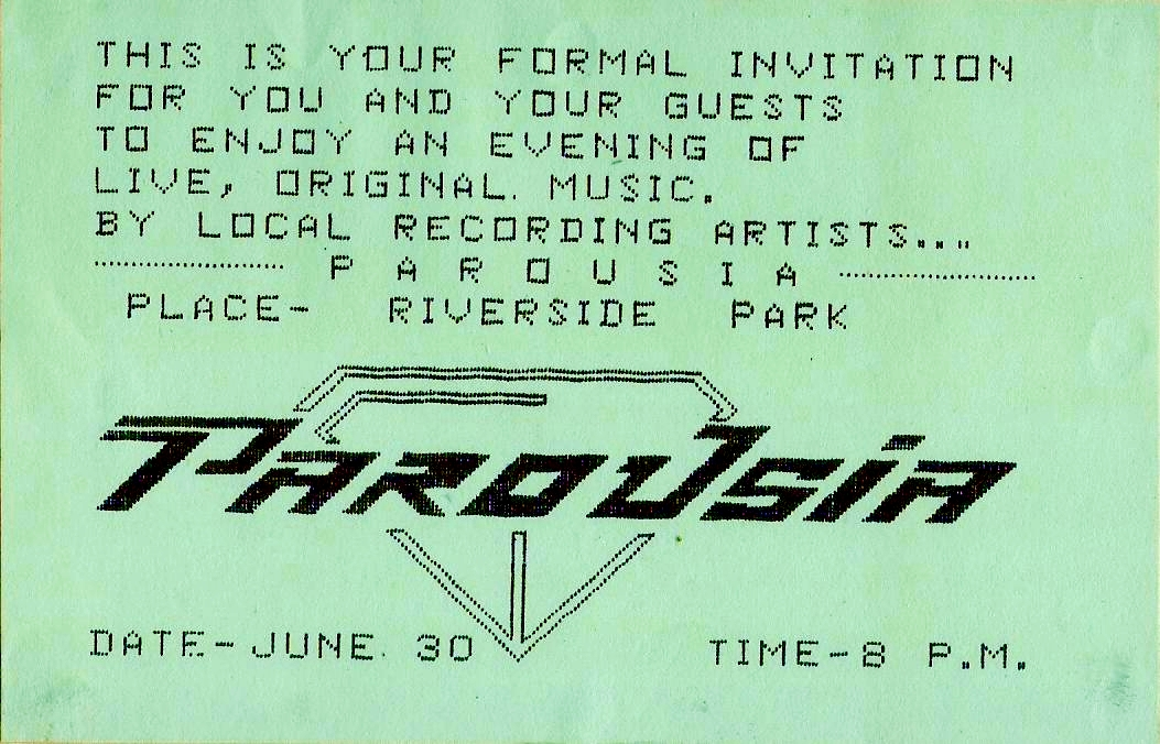 Invite card - Parousia at Riverside Park 1984