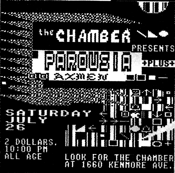 Invite card to The Chamber, July 26, 1986