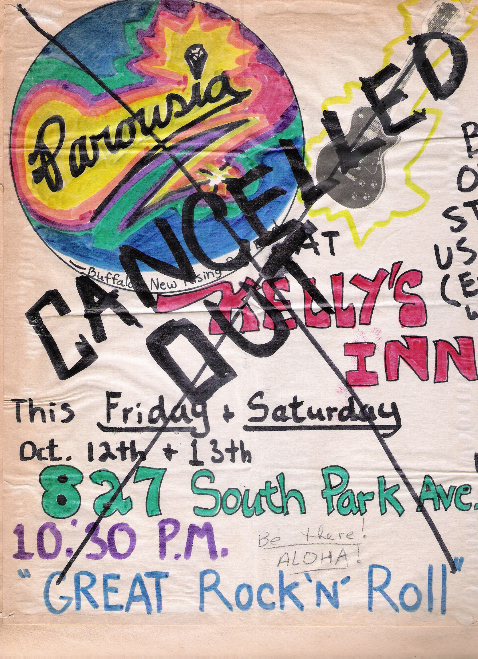 CANCELLED - Kelly's Inn, Friday and Saturday October 12th-13th, 1979