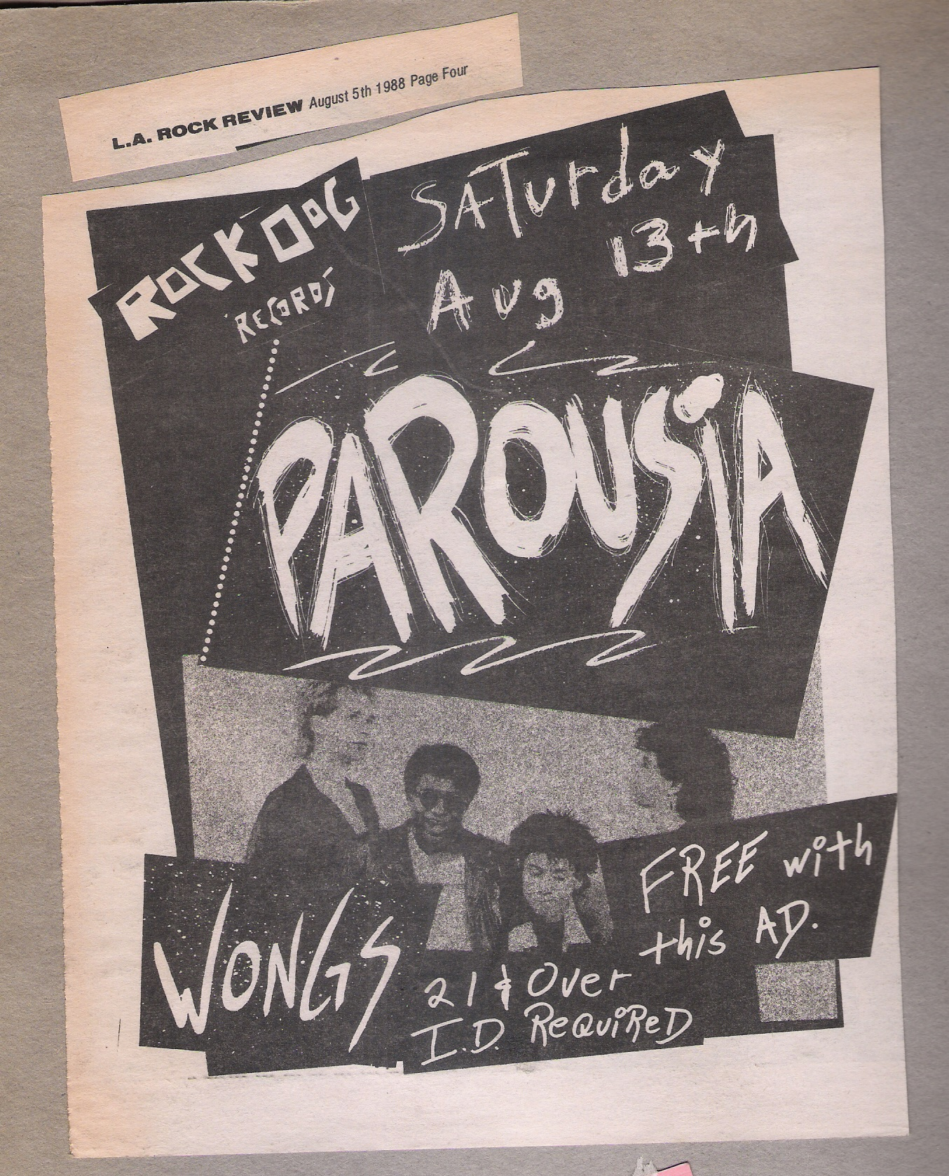 Promo for the Madame Wong's show published in the L.A. Rock Review Aug. 05, 1988