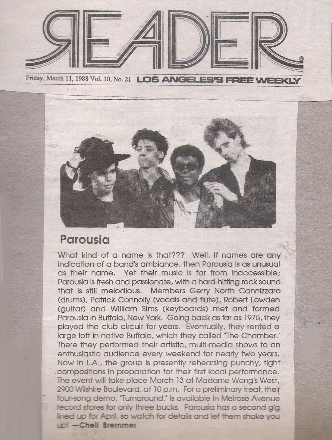 LA Reader- Review of Parousia March 11, 1988