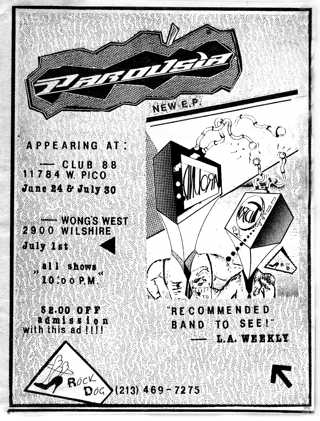 Parousia LA Weekly magazine ad promoting the Club 88 show, Madame Wong's show and TURNAROUND E.P.