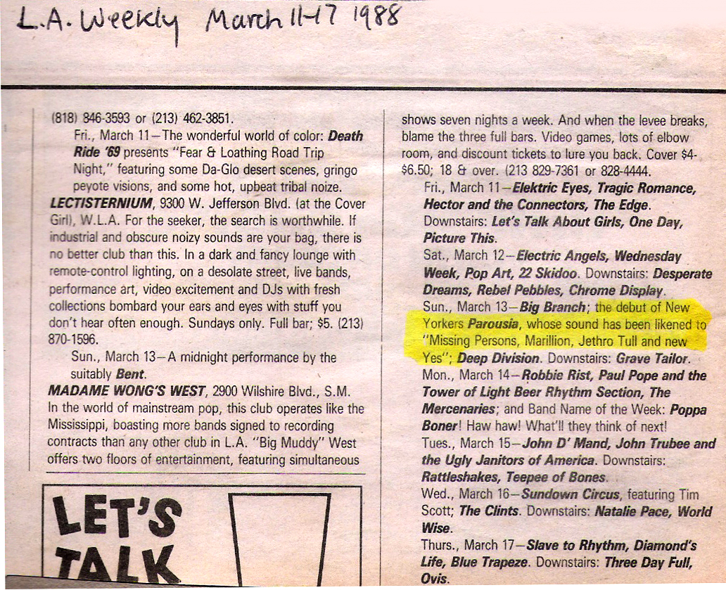 LA Weekly Band Listing. March 1988