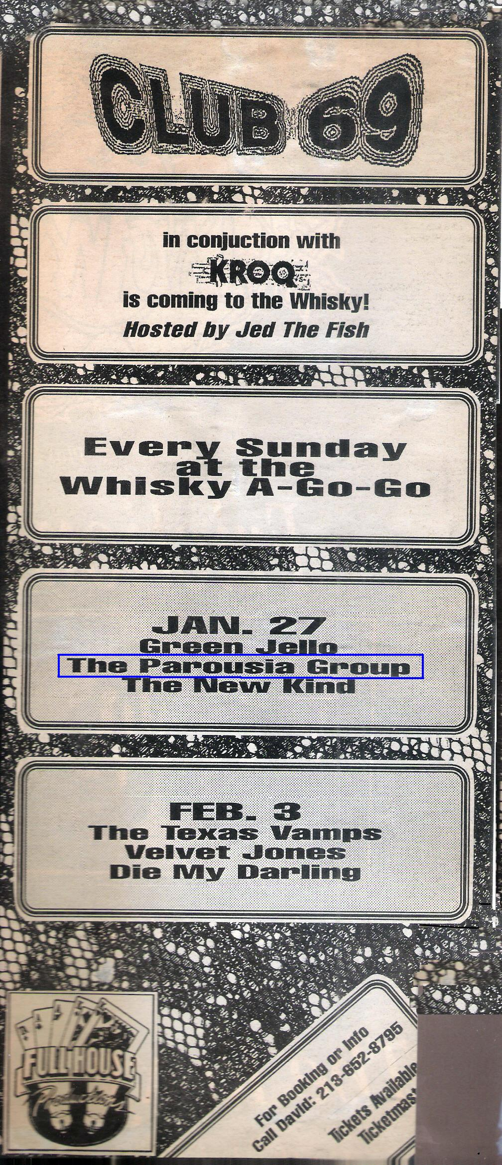 LA Weekly Band listing. Parousia and Green Jello Jan. 27, 1991