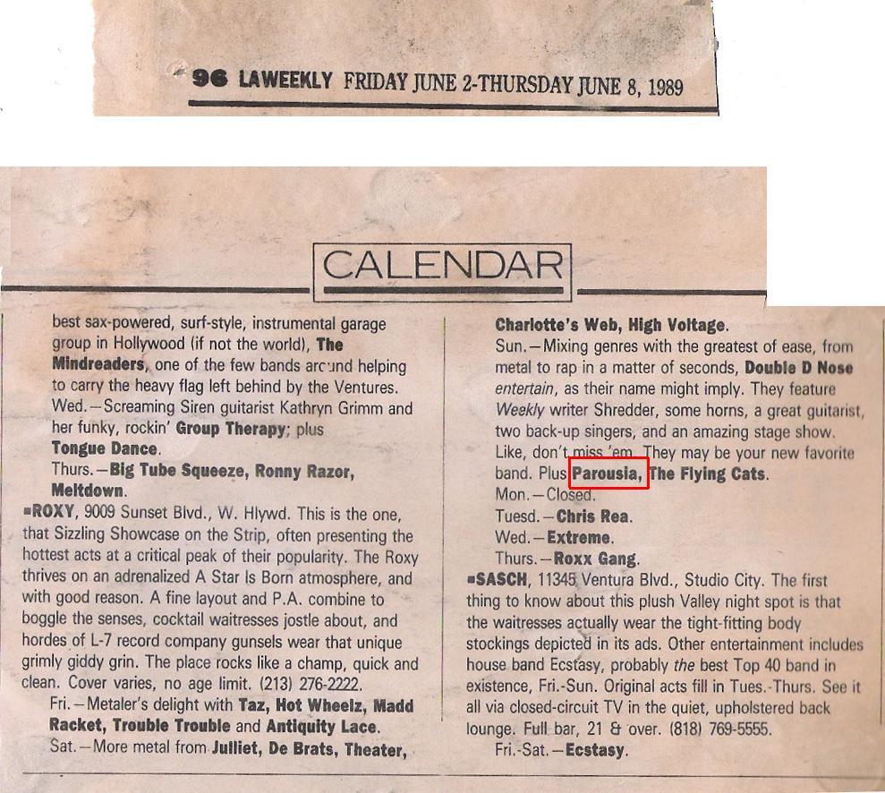 LA Weekly Calendar Band list June 2-8, 1989