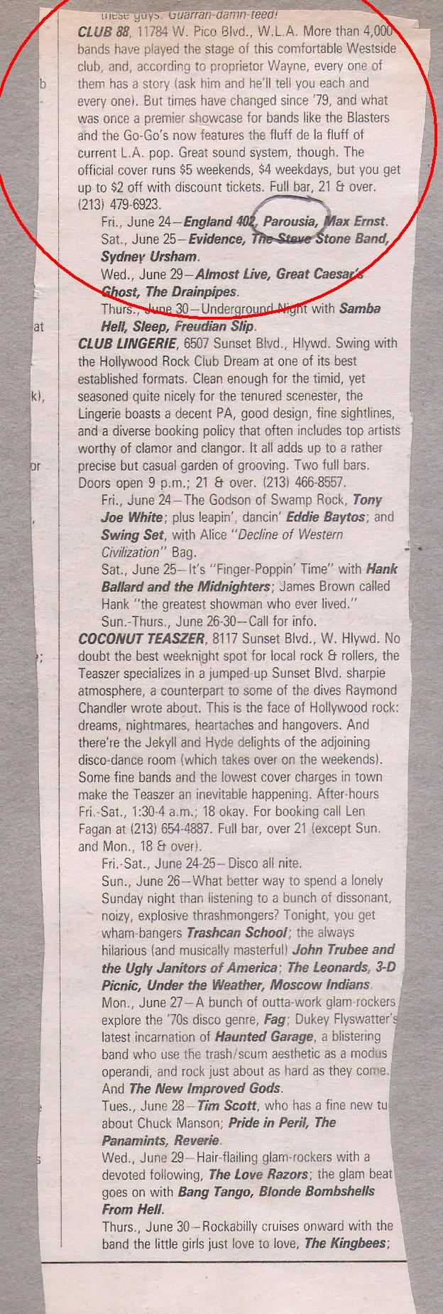LA Weekly live music list: Club June 24, 1988
