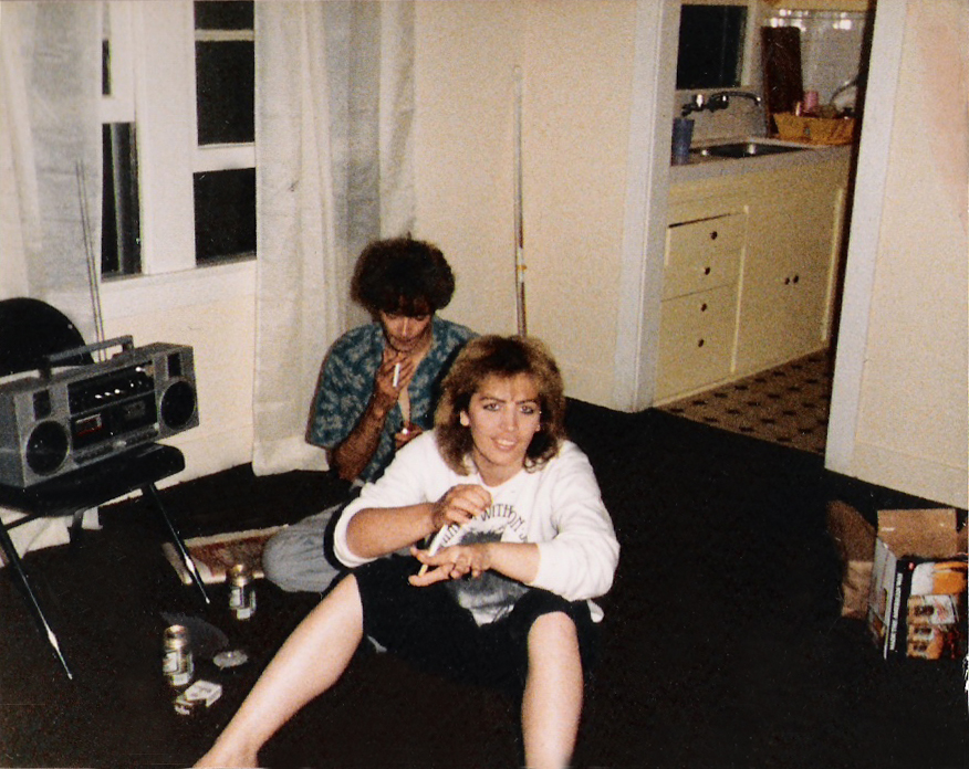 Patt Connolly and Claudine Regian, hanging out at the new digs on Las Palmas, July 1987.