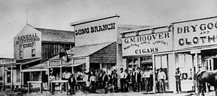 The real-life Long Branch Saloon at Grand Central Station, Kansas, 1874