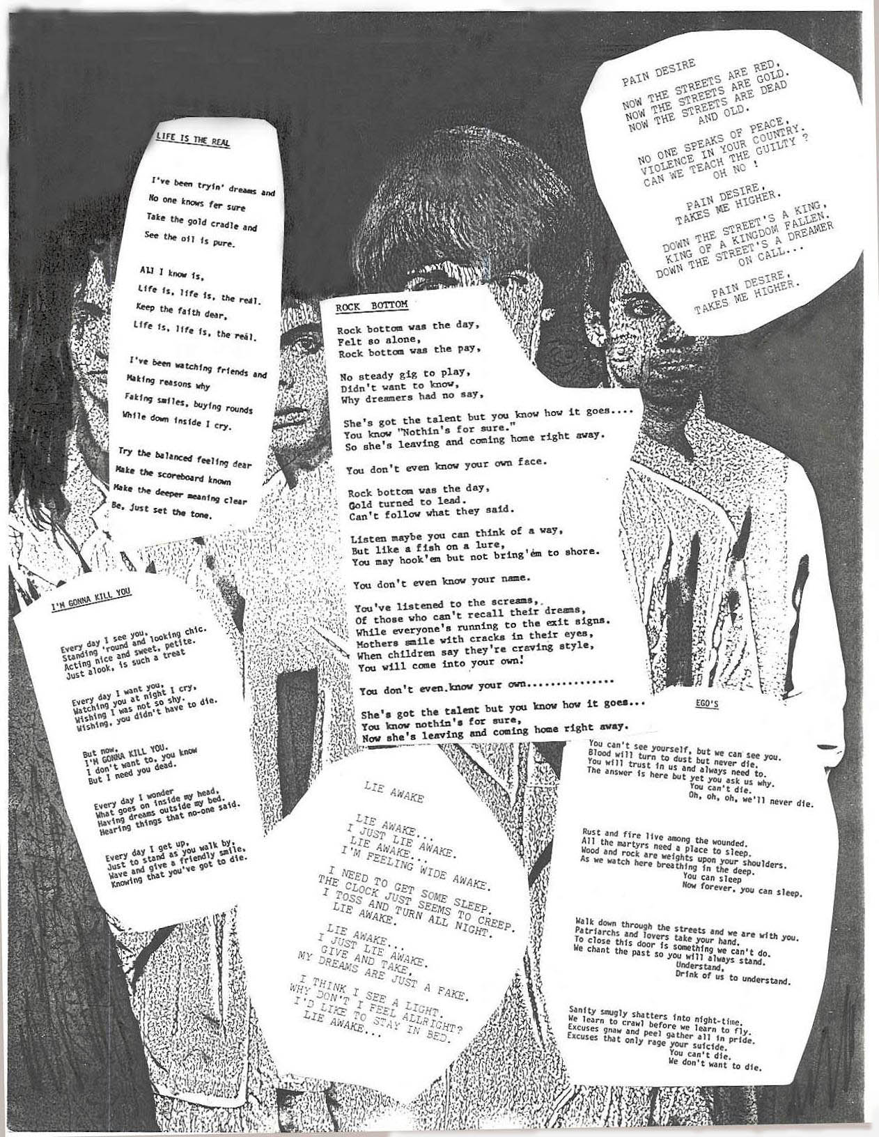 Lyric Sheet for Parousia Songs Recorded 1985 at Filippone Studios