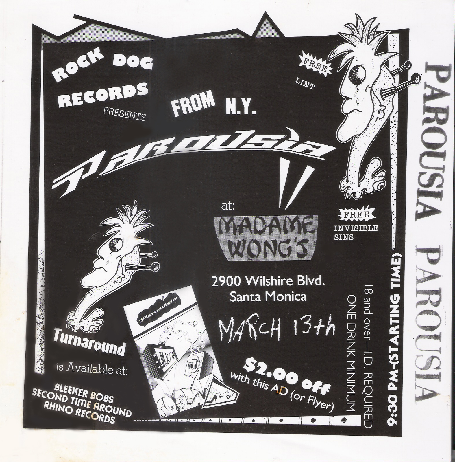 Parousia flyer for Madame Wong's 03-13.-88