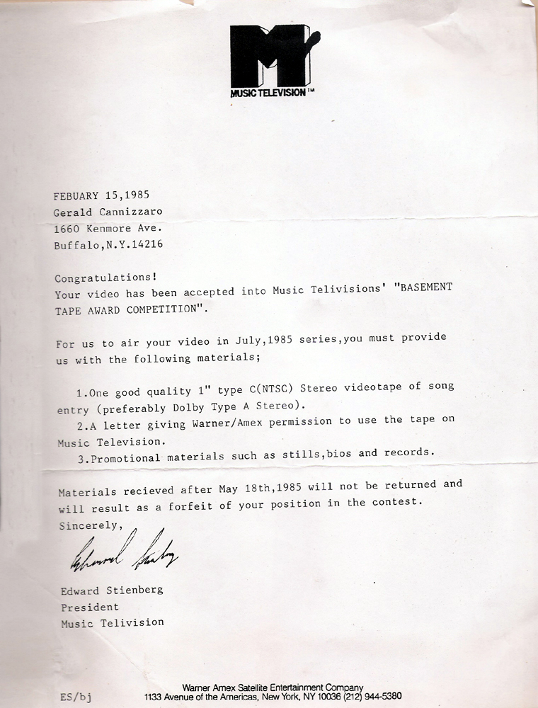 MTV Basement Tapes acceptance Letter – 02/15/1985