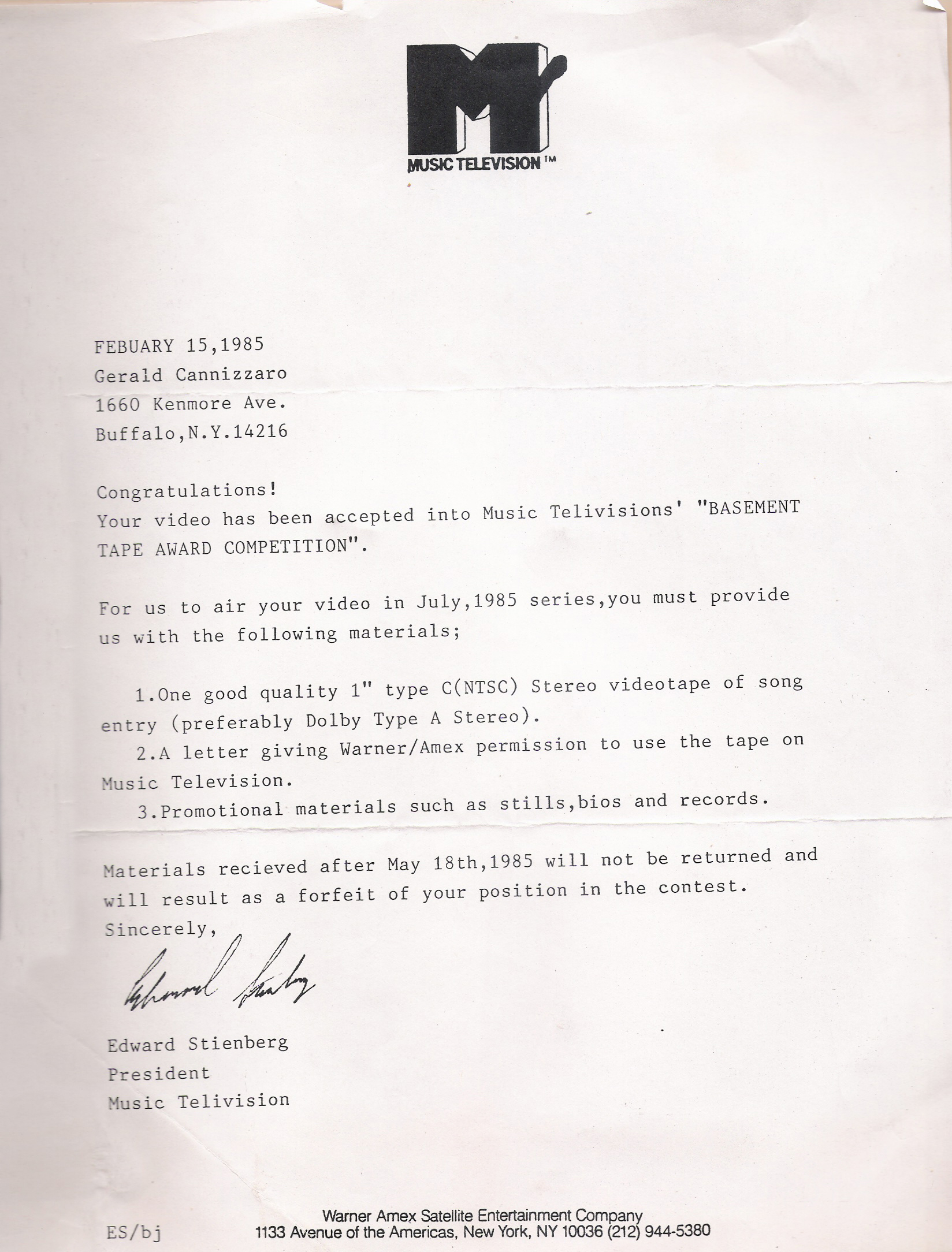 MTV Letter 02.15,1985 - accepted!