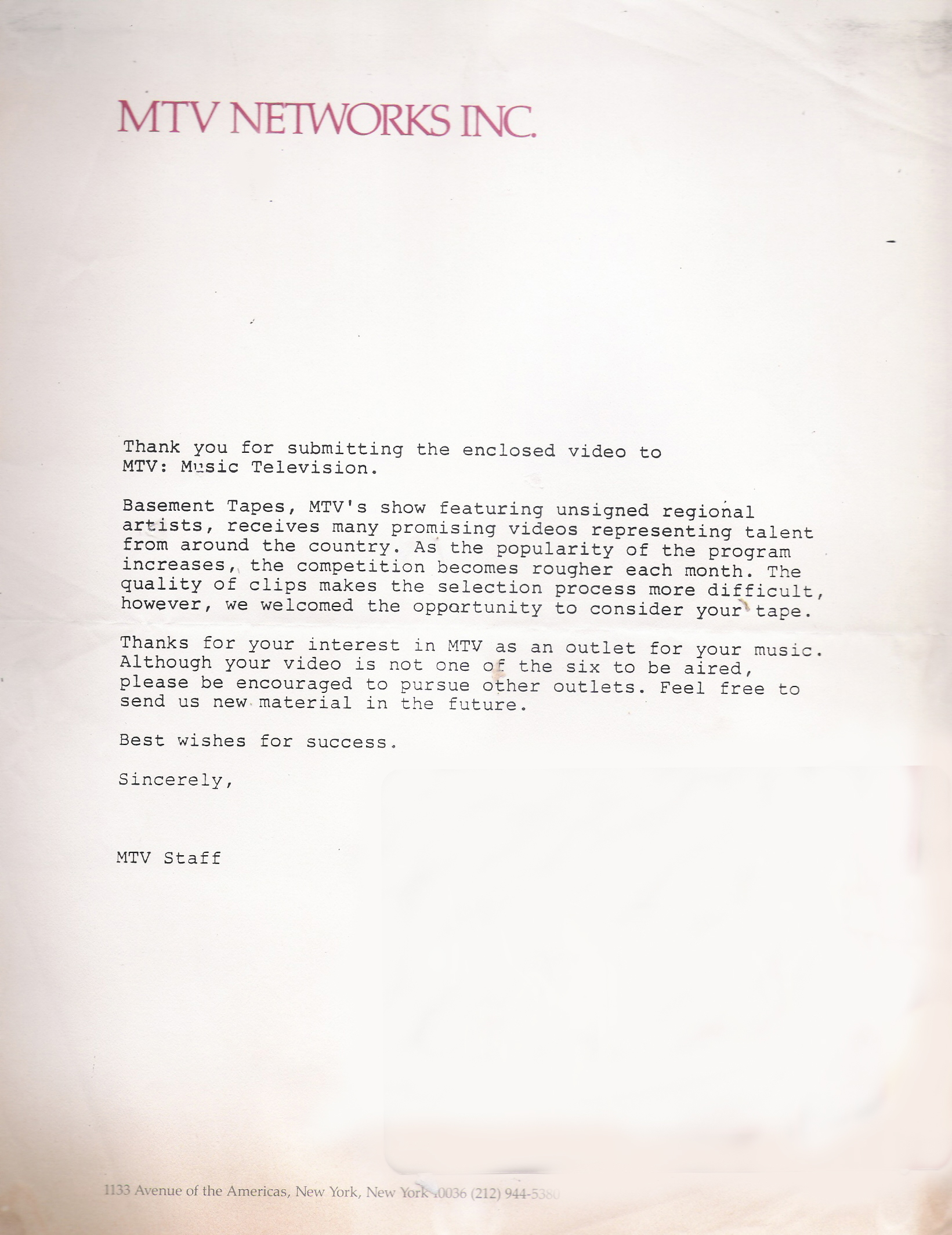 MTV letter August 1985 - Rejected!