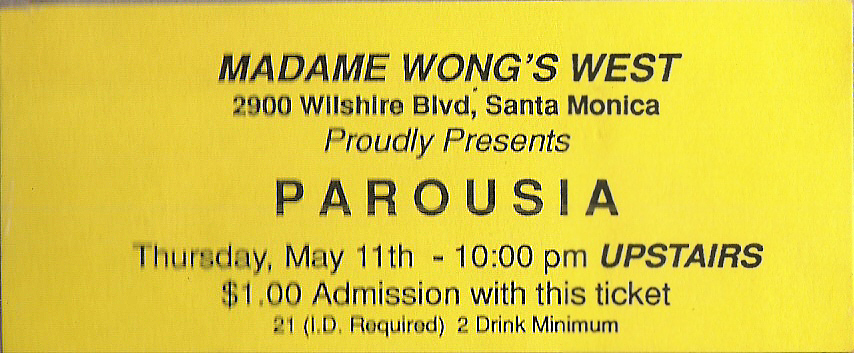 Madame Wong's admission ticket - May 11, 1989