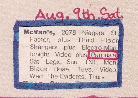 Mc Vans Saturday, August 9th 1980 Buffalo Evening News 'Calendar' listing