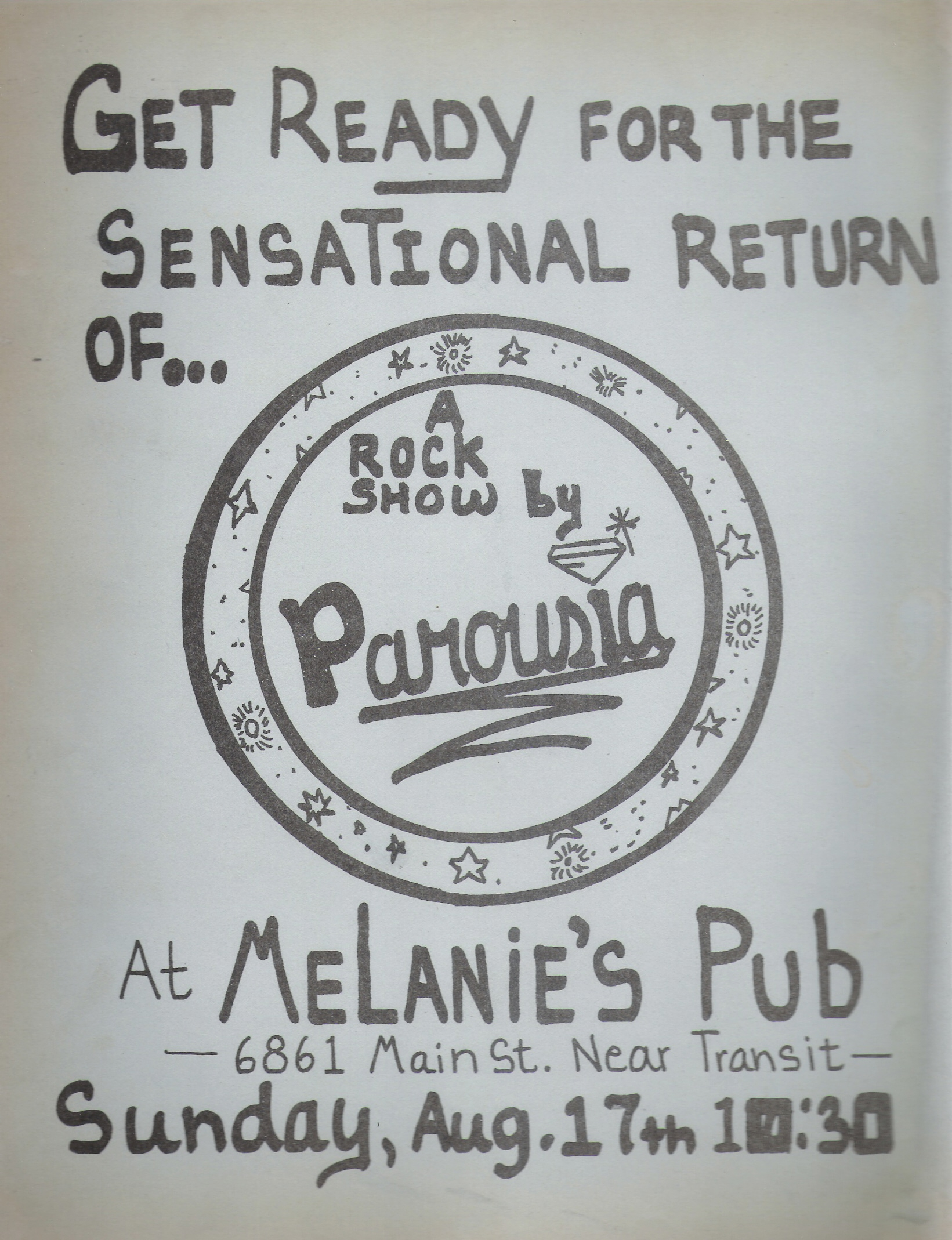 Parousia returns to Melanie's; Flyer- August 17th, 1980