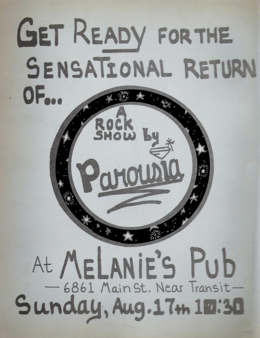 Parousia Band Flyer - Melanie's 08.17.1980