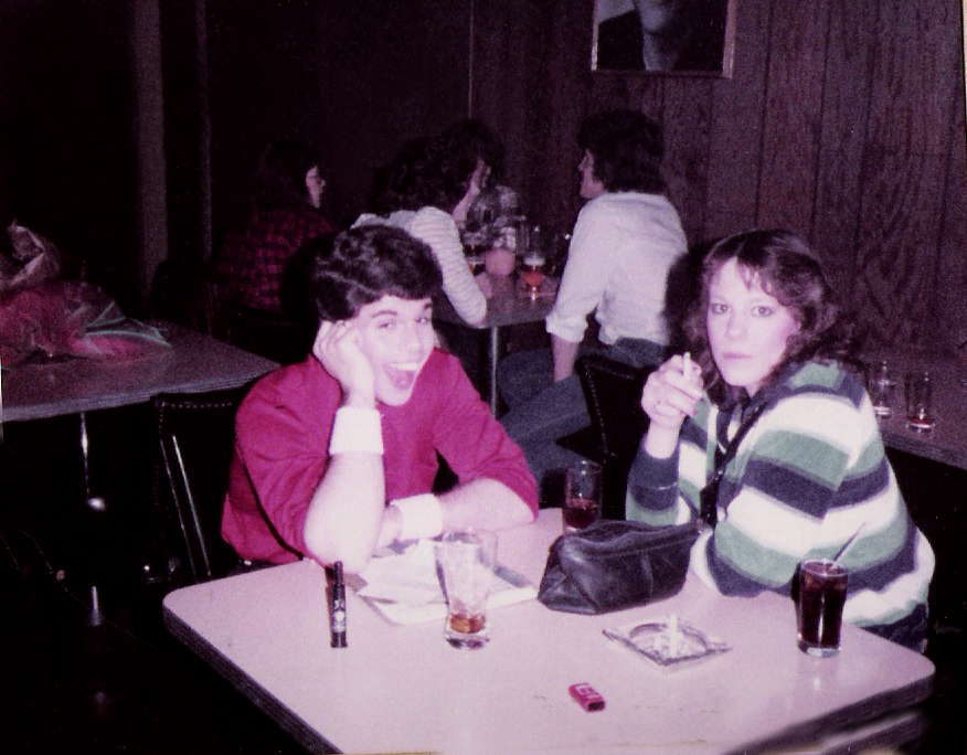 Gerry Cannizzaro and Debbie Sekera. Mingling with the crowd at the Hollywood, Batavia. New Years Eve. 1982