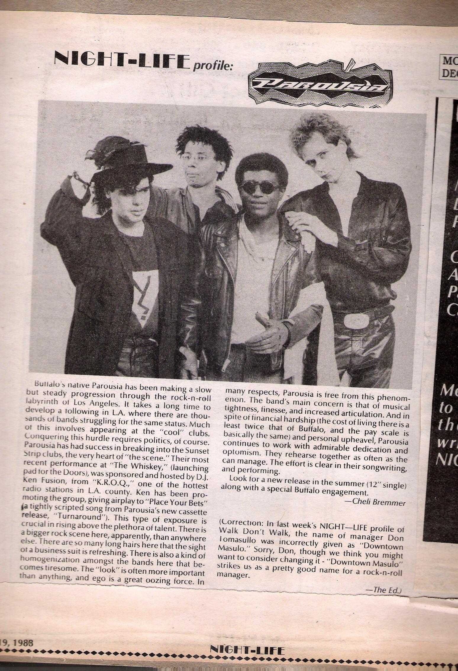 Parousia with Bill Simms: May 1984 – November 1988