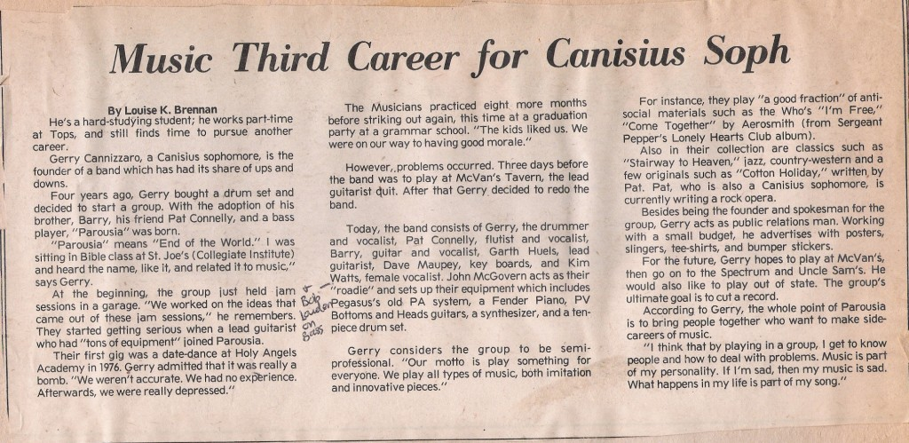 "October 1978 Article by Louise Brennen, featuring Parousia  published in Canisius College's ""The Griffin"""