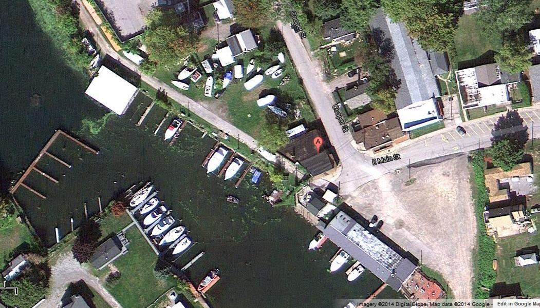 "Olcott Harbor, Lake Ontario, NY.  ""A"" shows the location of The Eagles Roost"