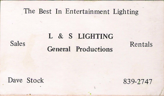 Our New Lighting Tech June 2nd 1980 at Shutters & Boards
