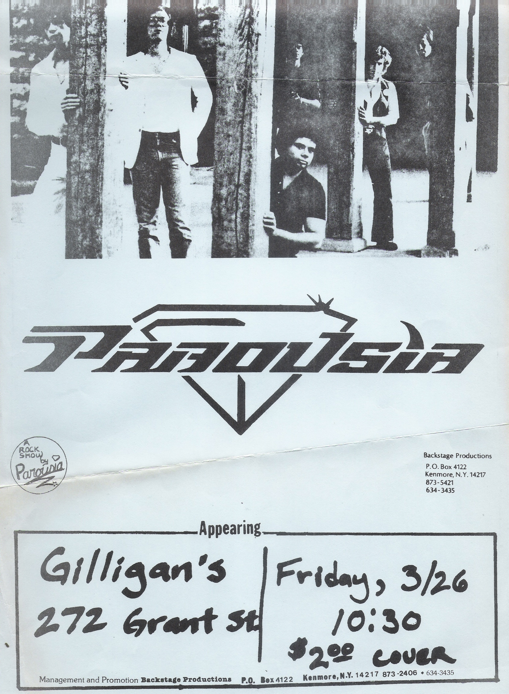 Parousia at Gilligan's. Friday March 26, 1982