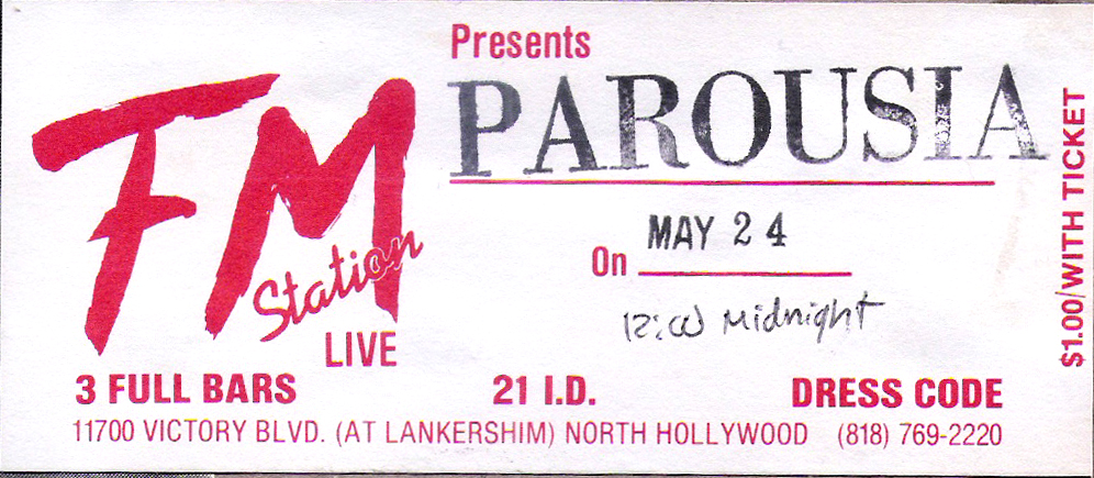 Parousia FM Station LIve ticket 05.24.1989