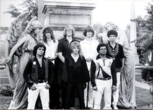 Patt Connolly, Kim Watts, Eric Scheda, Garth Huels, Bob Lowden - Parousia photo session at Forest Lawn Cemetery - August 1980 (photo by M. Falcowski)