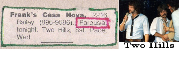 Parousia Franks Casa Nova, Friday, September 12th 1979