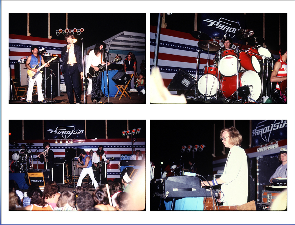 Parousia live onstage at Riverside Park, July 1981