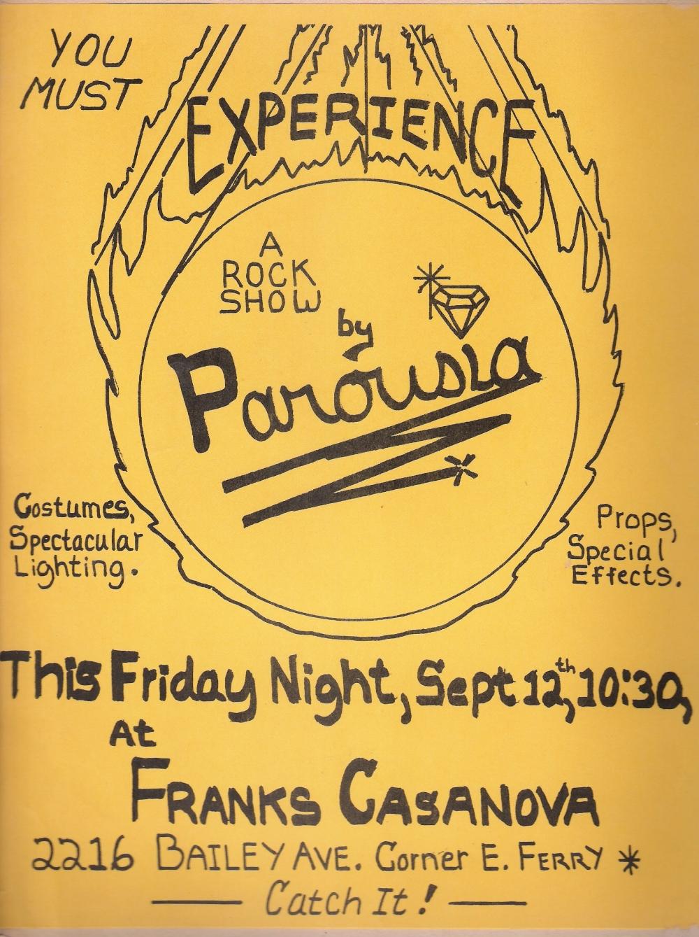 Parousia band flyer: Frank's Casa Nova - September 12, 1980