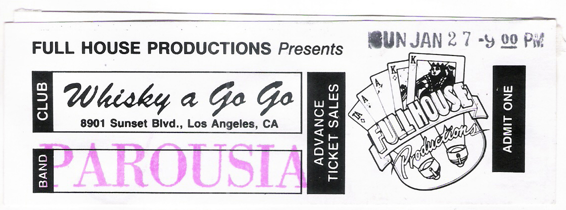Parousia Ticket Jan 27, 1991